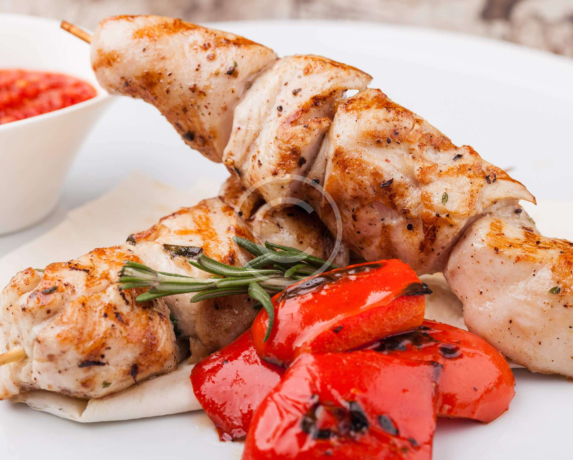 Chicken Kebabs With  Grilled Pepper